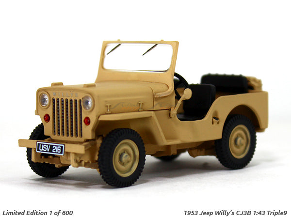 1953 Willys Jeep CJ-3B Open Top 1:43 Triple9 diecast Scale Model Car