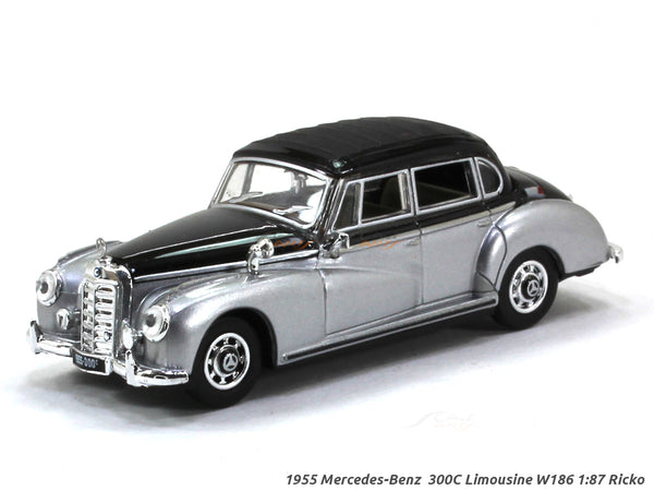1955 Mercedes-Benz  300C Limousine W186 Silver/Black 1:87 Ricko HO Scale Model car