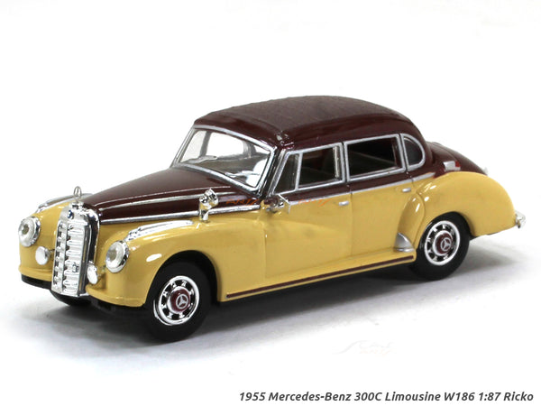 1955 Mercedes-Benz 300C Limousine W186 yellow/maroon 1:87 Ricko HO Scale Model car