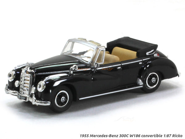 1955 Mercedes-Benz 300C W186 convertible black 1:87 Ricko HO Scale Model car