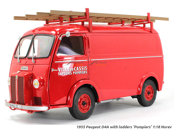 1955 Peugeot D4A with ladders Pompiers 1:18 Norev diecast scale model van
