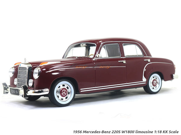1956 Mercedes-Benz 220S W180II limousine maroon 1:18 KK Scale diecast model car