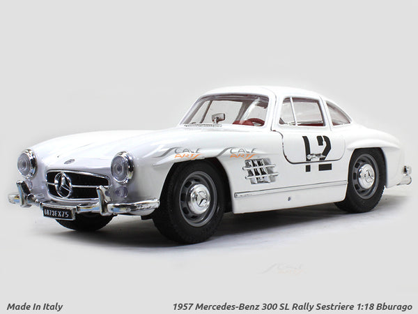 MADE IN ITALY 1957 Mercedes-Benz 300 SL Rally Sestriere 1:18 Bburago diecast Scale Model car
