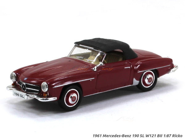 1961 Mercedes-Benz 190 SL W121 BII softtop red 1:87 Ricko HO Scale