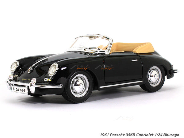 1961 Porsche 356 B Cabriolet Black 1:24 Bburago diecast Scale Model car