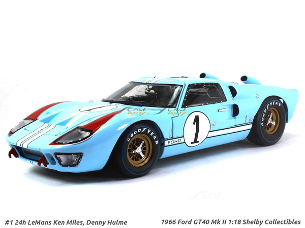 1966 Ford GT40 Mk II #1 Ken Miles Denny Hulme 1:18 Shelby Collectibles diecast scale model car