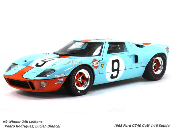 1968 Ford GT40 Gulf Winner LeMans 1:18 Solido diecast Scale Model car