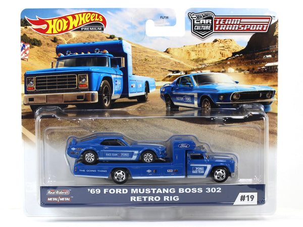1969 Ford Mustang Boss 302 Retro Rig Team Transport 1:64 Hotwheels premium collectible