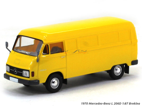 1970 Mercedes-Benz L 206D Box Van yellow 1:87 Brekina HO Scale Model Van