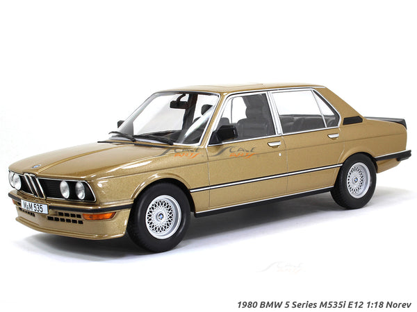 1980 BMW 5 Series M535i E12 golden 1:18 Norev scale diecast collectible model