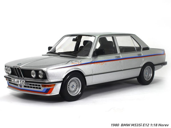 1980 BMW M535i E12 silver 1:18 Norev diecast scale model car