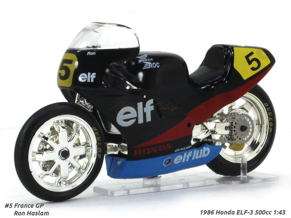 1986 Honda ELF-3 500cc Ron Haslam France GP 1:24 diecast Scale Model Bike
