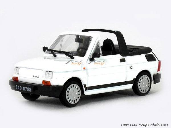 1991 FIAT 126p Cabrio white 1:43 diecast Scale Model car