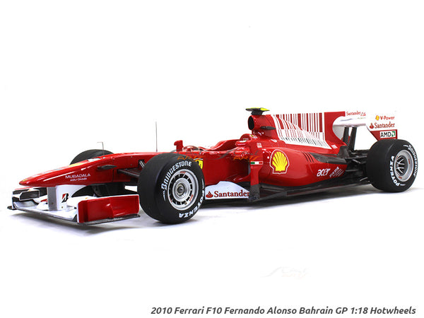 2010 Ferrari F10 Fernando Alonso Bahrain GP 1:18 Hotwheels diecast Scale Model Car