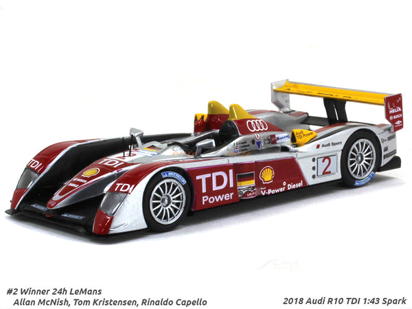 2018 Audi R10 TDI #2 Winner 24h LeMans 1:43 Spark diecast Scale Model Car