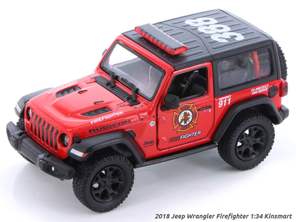 2018 Jeep Wrangler Firefighter 1:34 Kinsmart scale model car