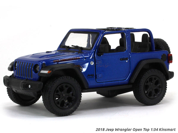 2018 Jeep Wrangler Open Top blue 1:34 Kinsmart scale model car