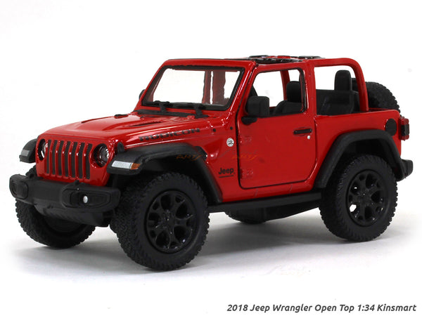 2018 Jeep Wrangler Open Top red 1:34 Kinsmart scale model car