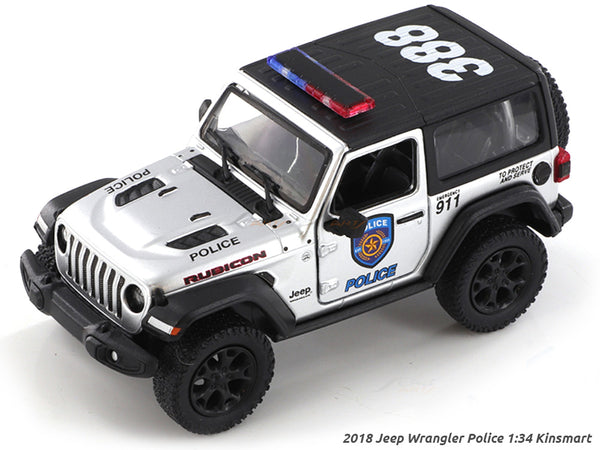 2018 Jeep Wrangler Police 1:34 Kinsmart scale model car