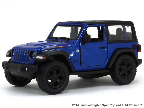 2018 Jeep Wrangler Closed Top blue 1:34 Kinsmart scale model car