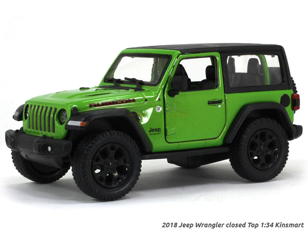 2018 Jeep Wrangler Closed Top green 1:34 Kinsmart scale model car