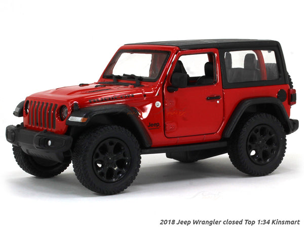 2018 Jeep Wrangler Closed Top red 1:34 Kinsmart scale model car