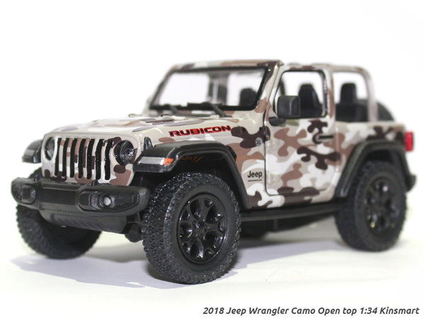 2018 Jeep Wrangler Camo 1 Open top 1:34 Kinsmart scale model car