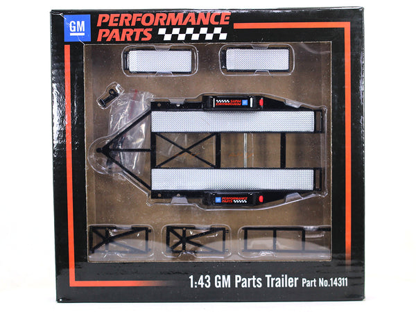 GM performance parts tandem car trailer with tire rack 1:43 GMP diecast Scale Model Car