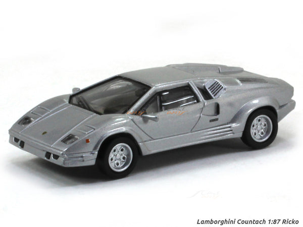 Lamborghini Countach silver 1:87 Ricko HO Scale Model car