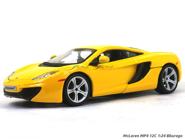 McLaren MP4 12C yellow 1:24 Bburago diecast Scale Model car