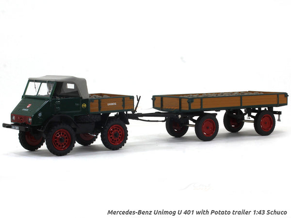 Mercedes-Benz Unimog U 401 with Potato trailer 1:43 Schuco diecast Scale Model