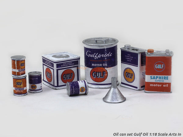 Oil can set Gulf Oil 1:18 Scale Arts In for model cars diorama accessories