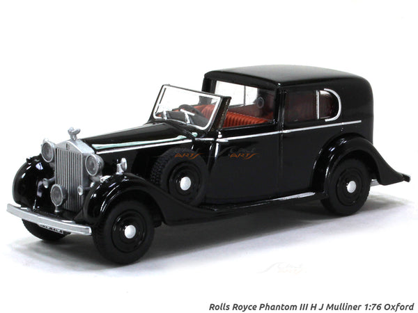 Rolls Royce Phantom III H J Mulliner black 1:76 Oxford diecast Scale Model Car