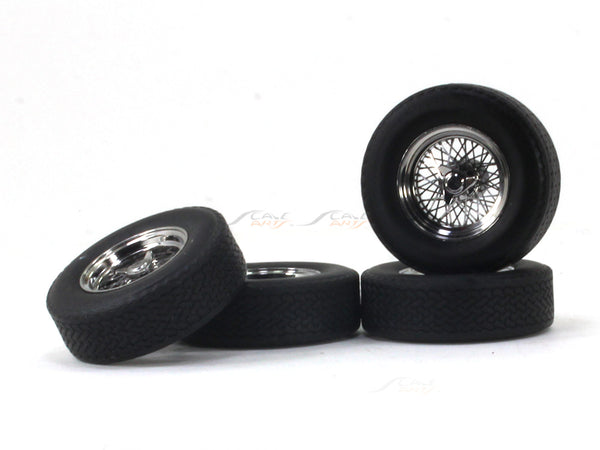 Spoke Wheels Rim and tyre set of 4 1:18 KK Scale model car accessories