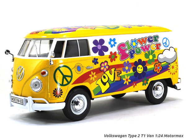 Volkswagen Type 2 T1 Van flower power 1:24 Motormax diecast scale model car