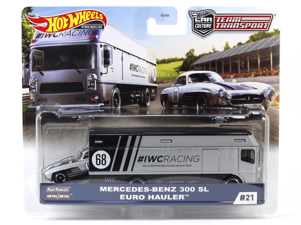Mercedes-Benz 300SL Euro Hauler Team Transport 1:64 Hotwheels premium collectible