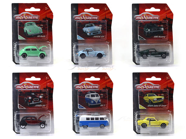 Set of 6 1:64 Majorette Vintage assortment diecast Scale Model car