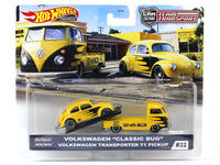 Volkswagen Classic Bug & T1 Pickup Transporter Team Transport 1:64 Hotwheels premium collectible