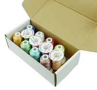 Simthread Variegated Colors Rayon Embroidery Machine Thread Kit, 12 Colors, 500M/Spool