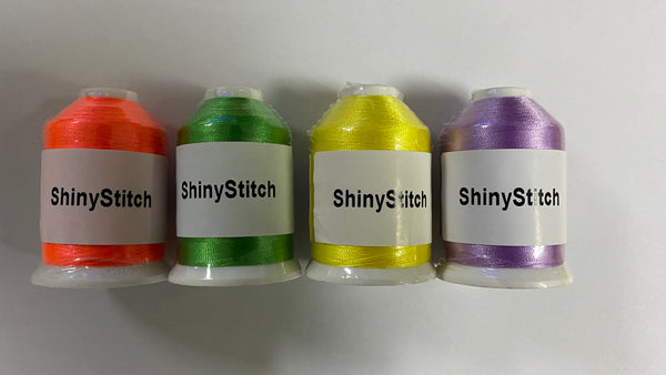 ShinyStitch 4 Colors 1000M Polyester Embroidery Machine Thread for Embroidery and Sewing Machines