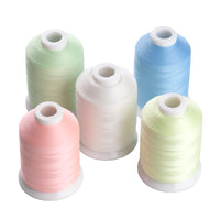 Simthread Glow In The Dark Embroidery Thread 5 Colors set 1000Y Per Spool, white,  pink, yellow, Blue, Green