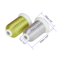Simthread Metallic Embroidery Machine Thread, Silver and Gold Colors