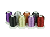 Simthread Metallic Embroidery Machine Thread - 8 Colors/Kit, 500M/Spool