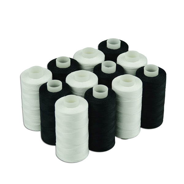 Simthread White and Black All Purposes Cotton Sewing/ Quilting Thread 50s/3 (30wt) for Piecing quilting patchworks etc - 550 Yards Each