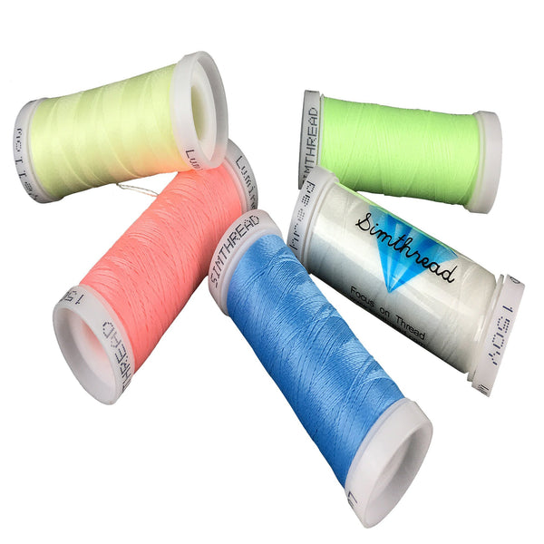 Simthread 5 Different Colors Glow In the Dark Embroidery Thread 150 Yards Each for Janome Brother Pfaff Babylock Singer Bernina Husqvaran and Most Home Embroidery Machines Special Embroidery Designs