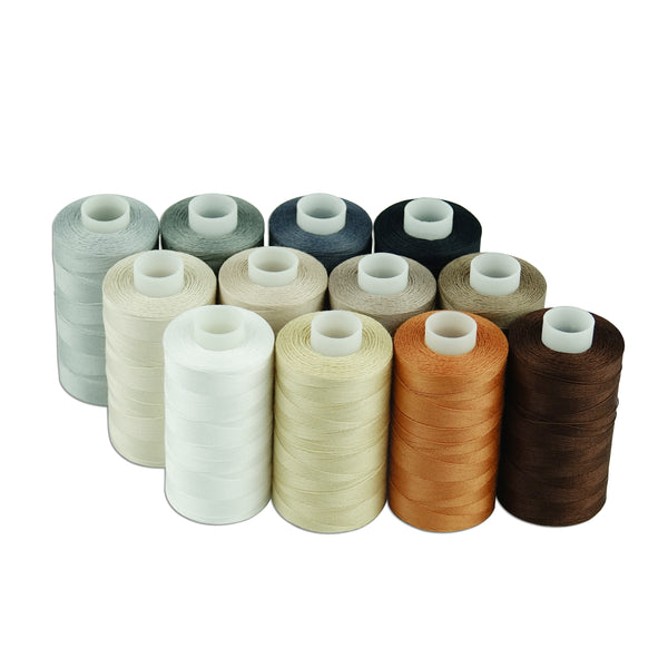 Simthread 12 Neutral Colors All Purposes Cotton Sewing/ Quilting Thread 50s/3 (30wt) for Piecing quilting patchworks etc - 550 Yards Each