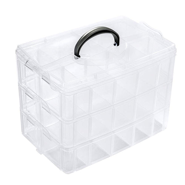 3 Layers Empty Plastic Box/Organizer for Thread Storage/Display, 30 Grids for 60 spools of 1000m or 500m Simthread thread