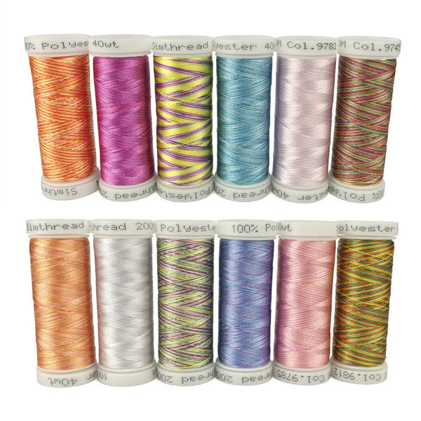 Simthreads 12 Variegated Colors Embroidery Machine Threads 300 Meters Each Suitable for All Home Machines
