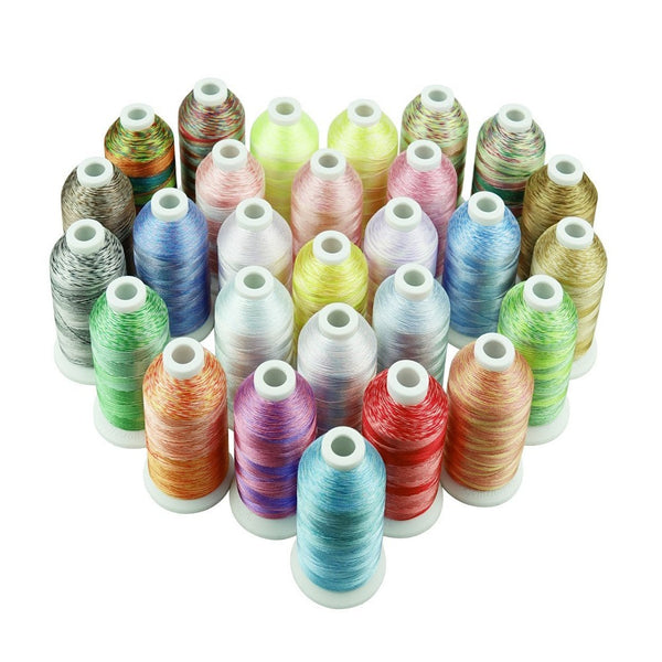 28 Variegated Colors 1100Yds Each Poly Thread for Most Sewing Embroidery Machines