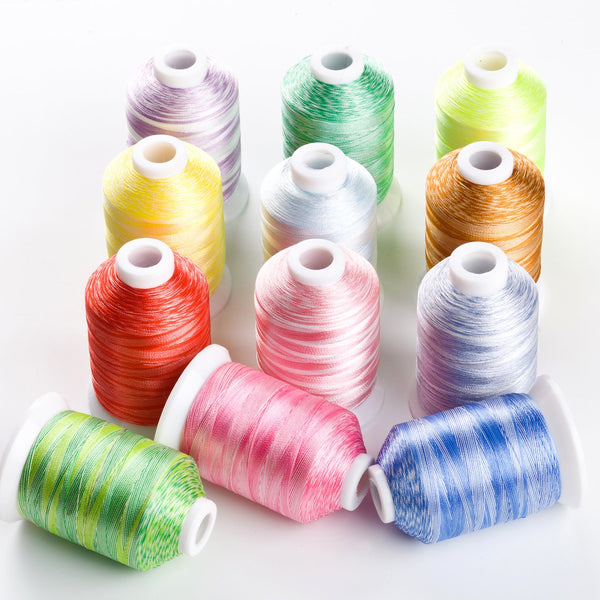 Variegated Polyester Embroidery Thread 120D 1100Yards 12Colors #1 S108- S120 for Sewing Embroidery Machines
